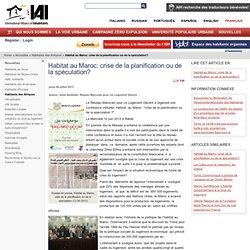 Habitat au Maroc: crise de la planification ou de la spéculation? / Habitants des Afriques / Nouvelles / Home - International Alliance of Inhabitants