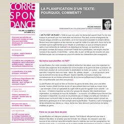 LA PLANIFICATION D'UN TEXTE: POURQUOI, COMMENT?