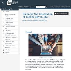 Course: Planification de l'intégration des technologies en anglais, langue seconde