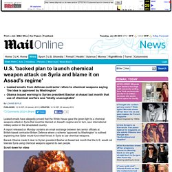 U.S. 'planned to launch chemical weapon attack on Syria and blame it on Assad'