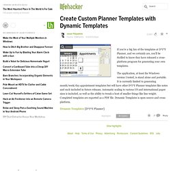 Templates: Create Custom Planner Templates with Dynamic Template
