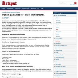 Planning Activities for People with Dementia