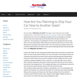 How Are You Planning to Ship Your Car Now to Another State? - shortkro