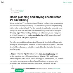 Media planning and buying checklist for TV advertising