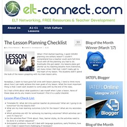 The Lesson Planning Checklist - ELT Connect