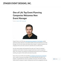 ONE OF LA'S TOP EVENT PLANNING COMPANIES WELCOMES NEW EVENT MANAGER