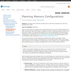 Planning Memory Configurations: Exchange 2007 Help
