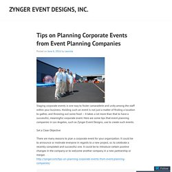 Tips on Planning Corporate Events from Event Planning Companies