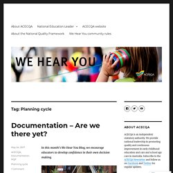Planning cycle – We Hear You