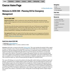 GEOG 588: Planning GIS for Emergency Management