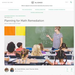 Planning for Math Remediation