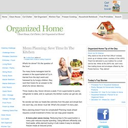 Menu Planning: Save Time In The Kitchen