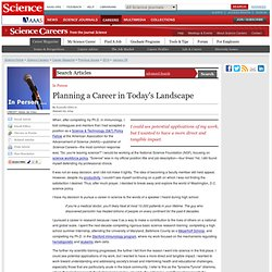 Planning a Career in Today's Landscape