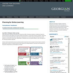 Planning for Online Learning - Centre for Teaching and Learning