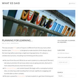 Planning for learning…