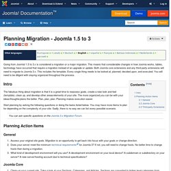 Planning Migration - Joomla 1.5 to 3