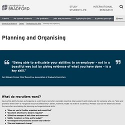 Planning and Organising - University of Bradford