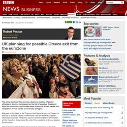 UK planning for possible Greece exit from the eurozone