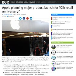 Apple planning major product launch for 10th retail anniversary?
