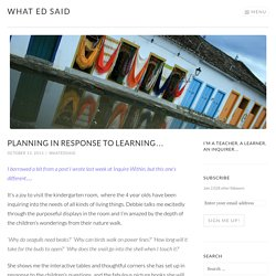 Planning in response to learning… – What Ed Said