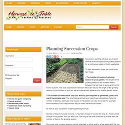 Planning Succession Crops