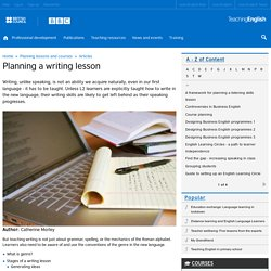 Planning a writing lesson