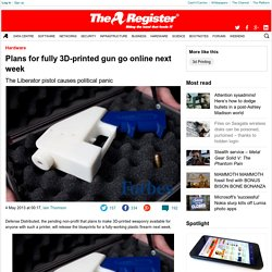 Plans for fully 3D-printed gun go online next week