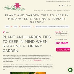 Plant and Garden Tips to Keep in Mind When Starting a Topiary Garden