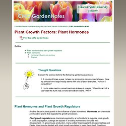 Plant Growth Factors: Plant Hormones