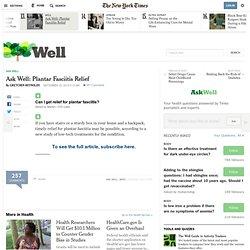 Ask Well: Plantar Fasciitis Relief