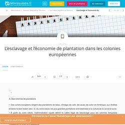 L'esclavage et l'économie de plantation dans les colonies européennes