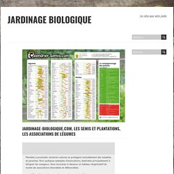 Jardinage-biologique.com, les semis et plantations, les associations de légumes - Jardinage Biologique
