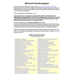 Medicinal Plant Monographs