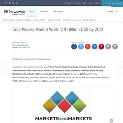 Cold Plasma Market Worth 2.91 Billion USD by 2021