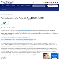 Plastic Antioxidants Market Projected to Reach $2.8 billion by 2024