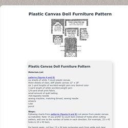 Plastic Canvas Doll Furniture Pattern