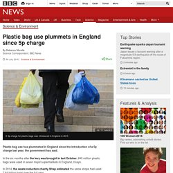 Plastic bag use plummets in England since 5p charge