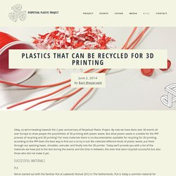 Plastics that can be recycled for 3D printing — Perpetual Plastic Project