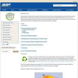 BPF: British Plastics Federation - Plastics Recycling