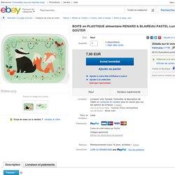 Boite EN Plastique Alimentaire Renard Blaireau Pastel Lunch BOX Boite À Goûter
