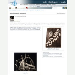arts plastiques - InSitu - la photographie - empreinte