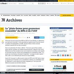 """La """"plate-forme pour gouverner ensemble"""" du RPR et de l'UDF"""