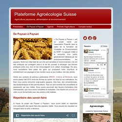 Plateforme Agroécologie Suisse: De Paysan à Paysan