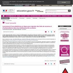 Lancement d'une plateforme en ligne pour signaler des faits de racisme et d'antisémitisme - Ministère de l'Éducation nationale et de la Jeunesse