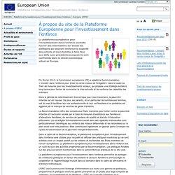À propos du site de la Plateforme Européenne pour l'investissement dans l'enfance - European Platform for Investing in Children (EPIC) - European Union
