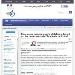 HGCréteil - Deux cours proposés sur la plateforme Lumni par les professeurs de l'Académie de Créteil