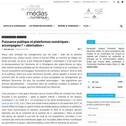 Puissance publique et plateformes numériques: accompagner l'«uberisation»