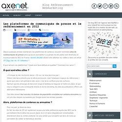 Les plateformes de communiqués de presse et le référencement en 2012
