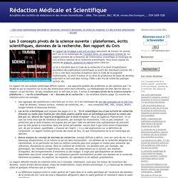 Les 3 concepts pivots de la science ouverte : plateformes, écrits scientifiques, données de la recherche. Bon rapport du Cnrs