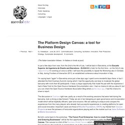 The Platform Design Canvas: a tool for Business Design